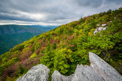 Early autumn view of the Blue Ridge Mountains from Hawksbill Mou Royalty Free Stock Images