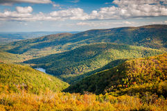 Early autumn view of the Charlottesville Reservoir from Moormans River Overlook, Shenandoah National Park, Virginia. stock image