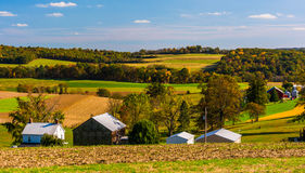 Early autumn view of farms in rural Southern York County, Pennsy Royalty Free Stock Photography