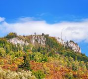 Early autumn view Tupa Skala, Slovakia. Early autumn view of massive rocky formation called Tupa Skala, Vysnokubinske Skalky located above the village of Vysny royalty free stock photos