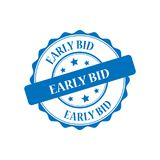 Early bid stamp illustration. Early bid blue stamp seal illustration design Stock Photo