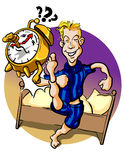 Early bird. Funny illustration of a young man jumping out of his bed Stock Image