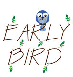 Early bird. Catches the worm twig text Stock Image