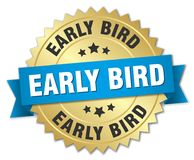 Early bird badge. Early bird round badge with ribbon Stock Photography