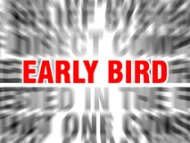 Early bird. Blurred text with focus on royalty free illustration