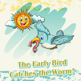 Early bird catches the worm Royalty Free Stock Image