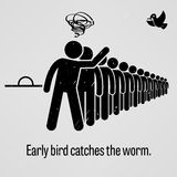 Early Bird Catches the Worm Proverb. A motivational and inspirational poster representing the proverb sayings, Early Bird Catches the Worm with simple human Stock Image