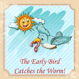 Early bird catches the worms Royalty Free Stock Images