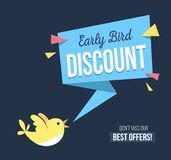 Early bird discount banner with cute bird and geomethic shapes. Promotional design template on blue background with doodles. Vector illustration vector illustration