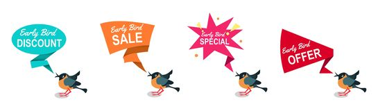 Early bird discounts and sales banners set isolated on white background. Early bird promotions. Vector illustration. Early bird discounts and sales banners set royalty free illustration