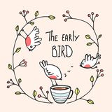 The Early Bird Saying with Birds and Coffee Royalty Free Stock Photos