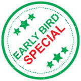 Early bird special. An illustration of a round symbol with the text 'Early Bird Special' with green stars Royalty Free Stock Image