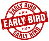 Early bird stamp. Early bird grunge stamp on white background Stock Photography