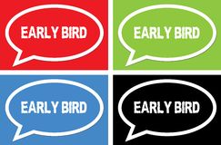 EARLY BIRD text, on ellipse speech bubble sign. Royalty Free Stock Photos