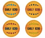 EARLY BIRD text, on round wavy border vintage, stamp badge. Royalty Free Stock Image