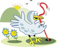 Early bird with worm cartoon. Cartoon of excited bird hauling worm out of earth at sunrise Royalty Free Stock Photo