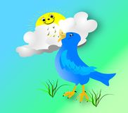 Early Bird2. Happy blue bird singing to the morning sun Stock Images