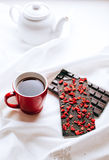 Early breakfast in silence with chocolate and tea Stock Image