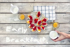 Early breakfast table Stock Images