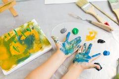 Early childhood education. Art studio Stock Photo