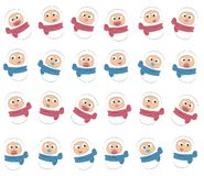 Early childhood: newborn boys and girls in diapers. Pattern of the babies with different emotions: babies cry, smile, sad Stock Photo