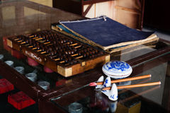 The early Chinese shop accounting tools. Stock Images
