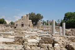 The early christian basilica. The ruins of which uncovered around the church, is one of the largest basilicas found so far in Cyprus (4 century Royalty Free Stock Images