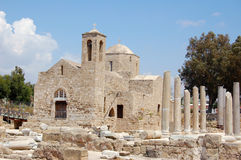 The early christian basilica. The ruins of which uncovered around the church, is one of the largest basilicas found so far in Cyprus (4 century Stock Photos
