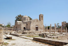 The early christian basilica. The ruins of which uncovered around the church, is one of the largest basilicas found so far in Cyprus (4 century Stock Photography