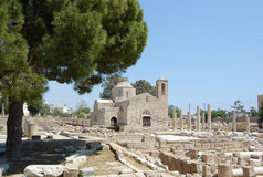 The early christian basilica. The ruins of which uncovered around the church, is one of the largest basilicas found so far in Cyprus (4 century Royalty Free Stock Image