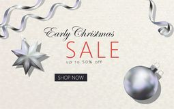 Early Christmas sale 3d realistic banner template. Early Christmas sale 3d realistic banner template. Gray white business style design silver metallic tree toys Royalty Free Stock Photo
