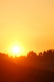 Early clear sunrise. Early orange clear sunrise in the forest in summer stock photography