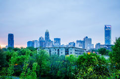 Early cloudy morning over charlotte skyline Royalty Free Stock Photo