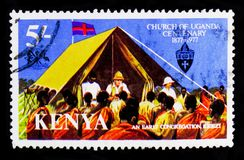 An Early Congregation - Kigezi, Church of Uganda, Centenary serie, circa 1977 Royalty Free Stock Photo