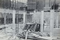 Early Construction- Bank Of America Plaza- The Doors stock photo