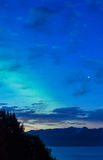 Early Dawn aurora over Kachemak Bay Alaska Royalty Free Stock Images