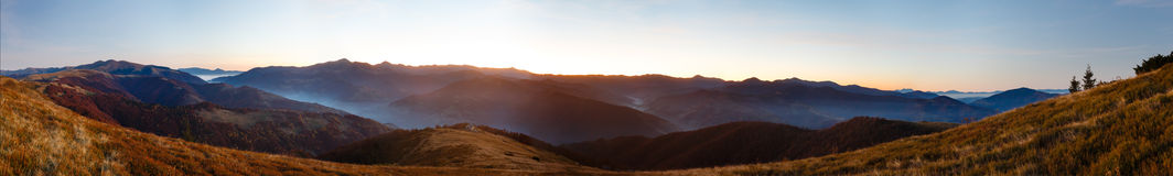 Early dawn mountains panorama. Stock Images