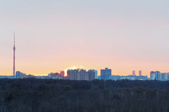 Early dawn over city park in spring Royalty Free Stock Image