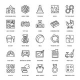 Early development baby toys flat line icons. Play mat, sorting block, busy board, carriage, toy car, kids railroad, maze. Clay illustrations. Thin signs for royalty free illustration