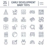 Early development baby toys flat line icons. Play mat, sorting block, busy board, carriage, toy car, kids railroad, maze. Clay illustrations. Thin signs for vector illustration