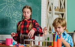 Early development of children. back to school. microscope optical instrument at science classroom. happy children. learn royalty free stock photo