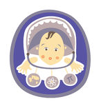 Clever baby. Baby in a buggy watching toys which represent different sciences Royalty Free Stock Photography