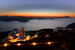 Early evening lights. Panagia Thalassitra. Plaka, Milos. Cyclades islands. Greece. Milos or Melos is a volcanic Greek island in the Aegean Sea, just north of the Royalty Free Stock Photos