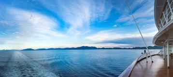 Early evening panoramic view of Dixon Entrance, BC from stern of cruise ship. royalty free stock photography