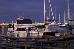 Early Evening Sailboat Yacht Ocean Harbor Marina Stock Photo