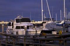 Early Evening Sailboat Yacht Ocean Harbor Marina Stock Photo