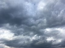 Early evening sky, clouds. Early evening cloudy sky, autumn. Grey with blue Stock Images