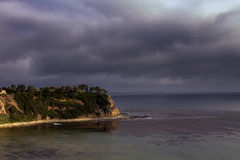 Early Evening Storm Approaches Pacific Ocean Coast Stock Images