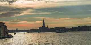 Early evening with sunset at amazing Venice, Italy, summer time Stock Photos