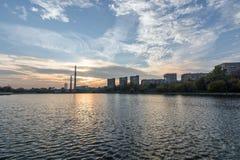 Early evening view on the Kozhukhovskiy pond Stock Photos